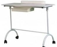 Mesa de manicura blanca con cajón y ruedas